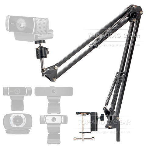 Desktop Suspension Boom Arm Mic Stand Scissor Mount Clamp For Logitech Webcam C922 C930e C930 C920