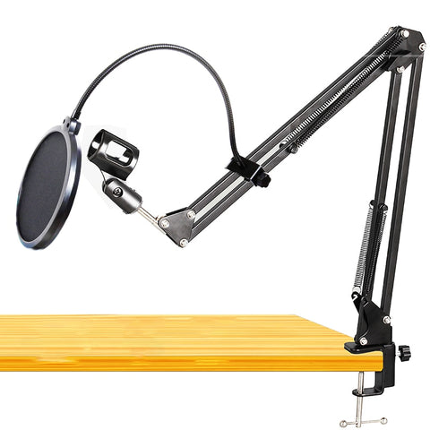 GEVO NB-35 Microphone Holder Suspension Arm Adjustable Stand Metal Boom Scissor Arm And Dual Layered