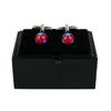 Blue Painted Red Cufflinks