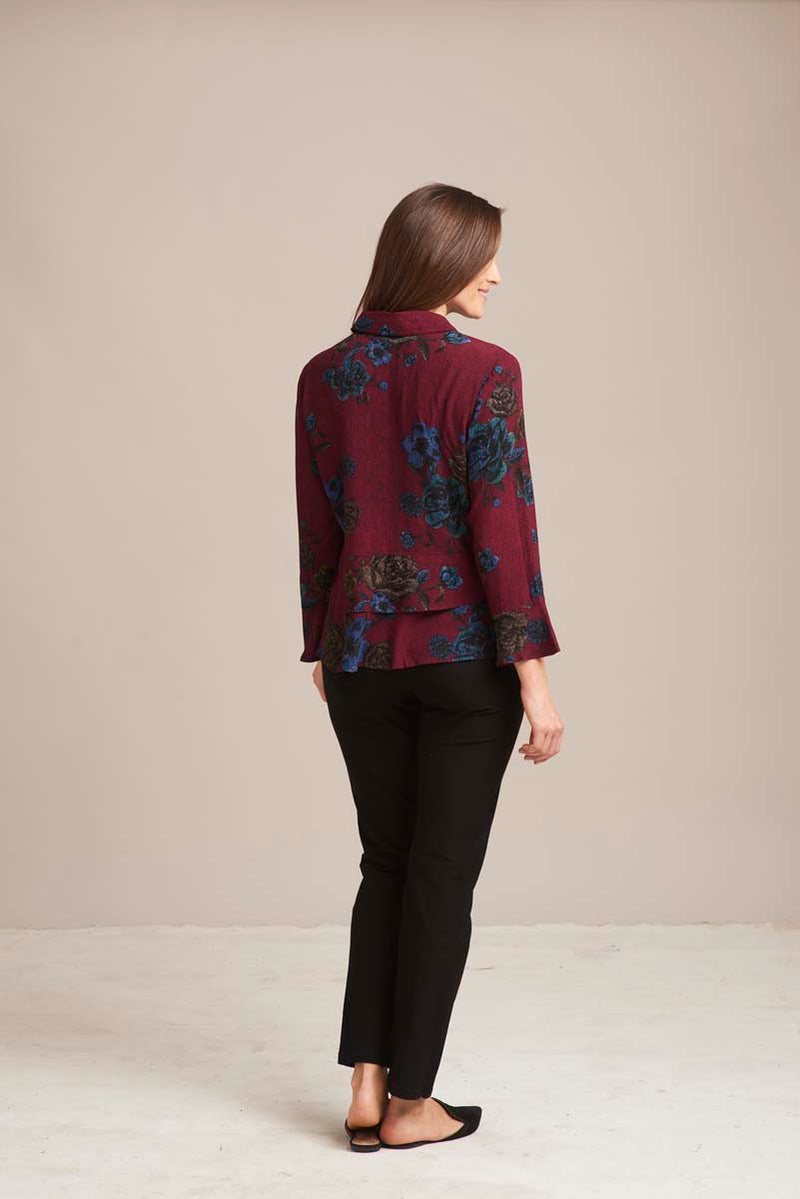 Wine Floral Flounce Top