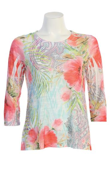 Floral 3/4 Sleeve Burn Out Top