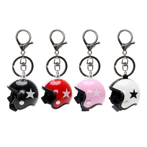 Creative Car Keychain Keyfob Auto Key Chain Motorcycle Safety Helmets Model Five-star Key Rings Key Holder Ornament Accessories