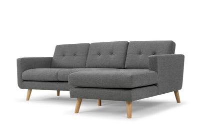 Olav large three seater sofa with chaise - corner sofa in grey with oak legs