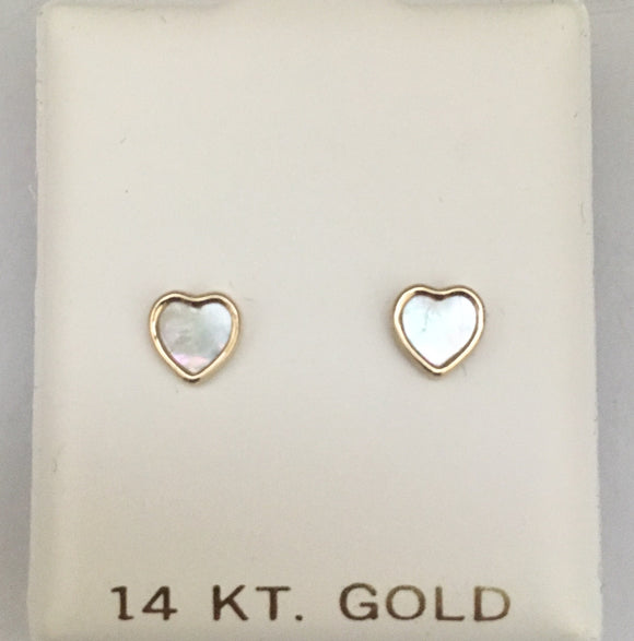 14k Mother of Pearl Heart Screwbacks