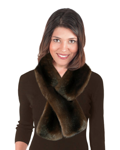 mink faux fur scarf-pull through style
