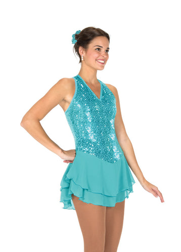 J244/18 Tiffany Blue Sequin Garden Dress