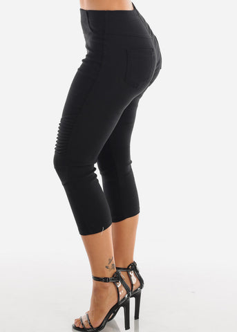Super Stretchy High  Rise Moto Style Solid Black Jegging Capris For Women Ladies Junior On Sale 2019 New Miami Style Trends