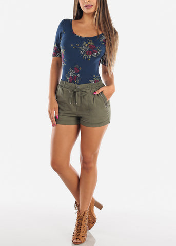 Women's Junior Ladies Casual Cute Going Out Beach Vacation High Waisted Olive Linen Shorts