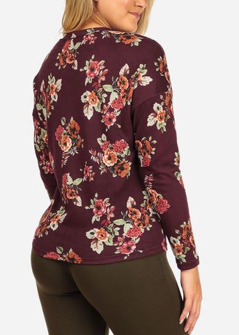 Image of Women's Junior Ladies Stylish Strappy Long Sleeve Burgundy Floral Print Blouse Top