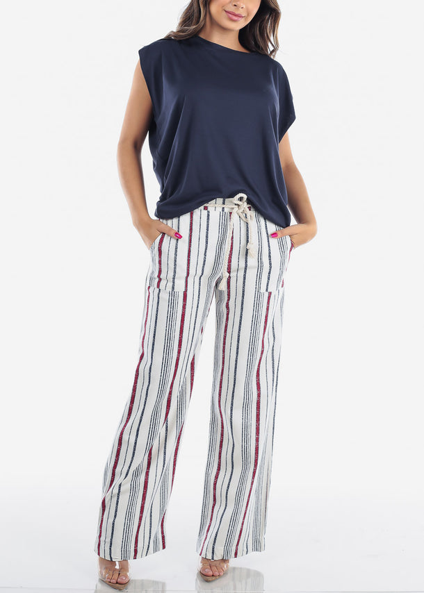 Red Stripe Linen Pants