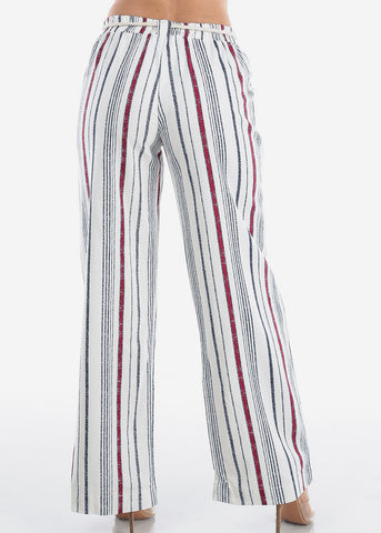 Linen Red And White Stripe High Waisted Wide Legged Pants For Women Ladies Junior Vacation Beach Trip
