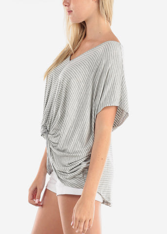 Image of Women's Junior Ladies Cute Casual Trendy Super Soft Stripe Grey High Low Tunic Top With Front Knot Detail