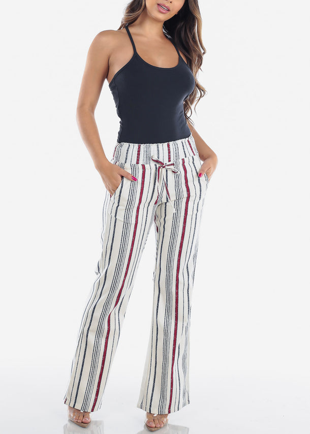 Stripe Red Linen Pants
