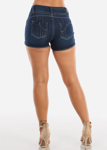 Sexy Stylish Butt Lifting Levanta Cola Colombian Design 3 Button Mid Rise Dark Wash Booty Shorts On Sale