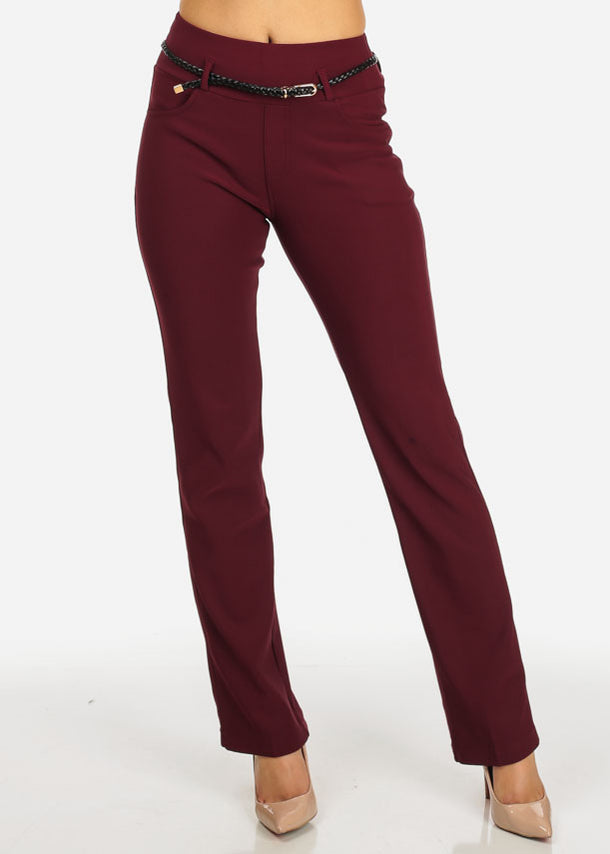 Burgundy Straight Leg Pants w/ Belt