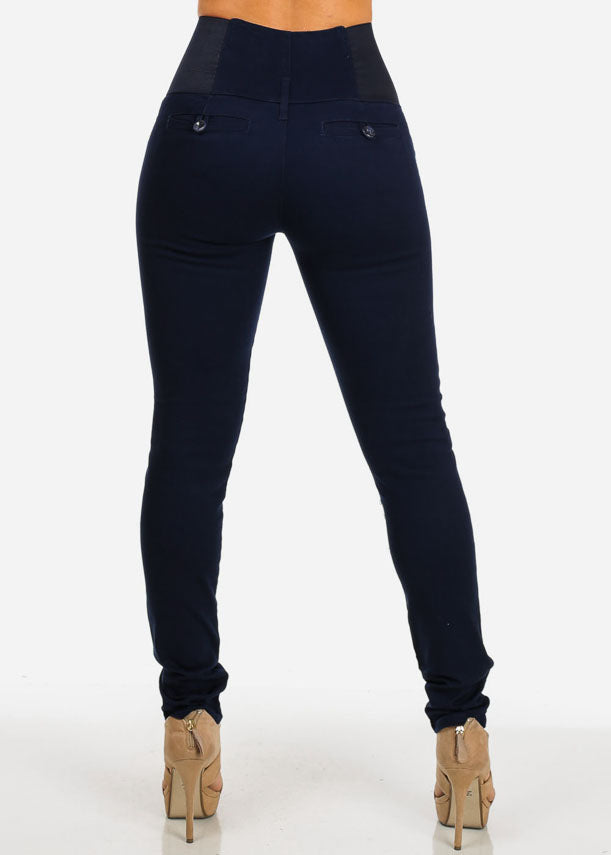 High Waisted Elastic Band Pants (Navy)