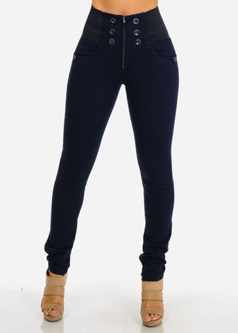 Image of High Waisted Elastic Band Pants (Navy)