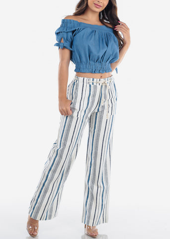 Linen Blue And White Stripe High Waisted Wide Legged Pants For Women Ladies Junior Vacation Beach Trip