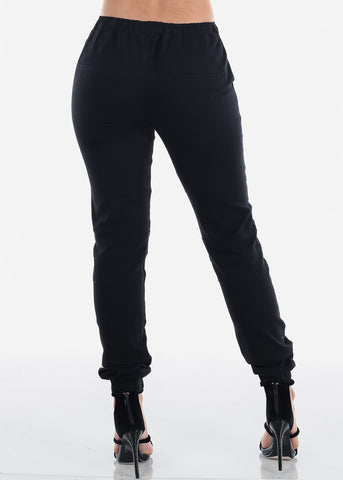 Image of Black Moto Style Joggers Pants