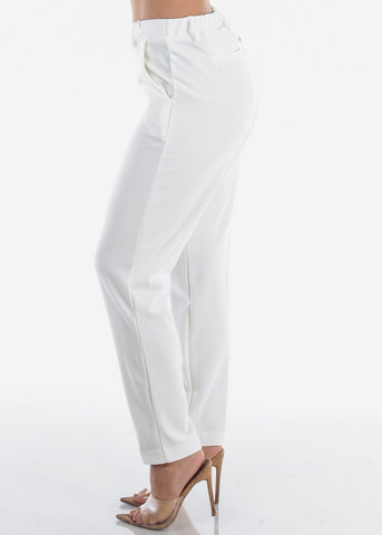 High Waisted Pull On Cute Solid Ivory Straight Leg Dressy Office Career Business Wear Pants For Women Ladies Junior