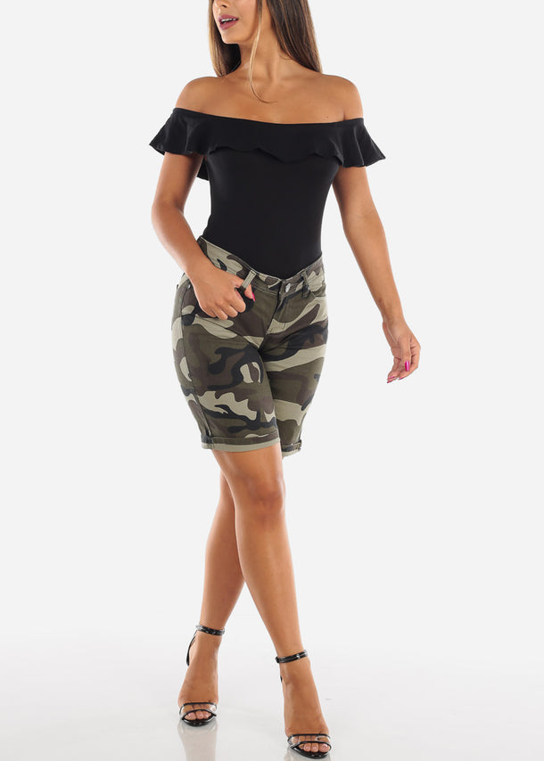 Low Rise Camo Bermuda Shorts