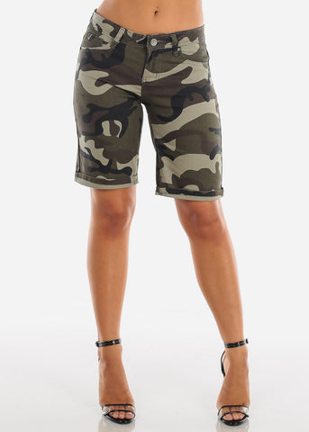 Cute Sexy Low Rise Camouflage Army Print Stretchy Bermuda Shorts For Women Ladies Junior
