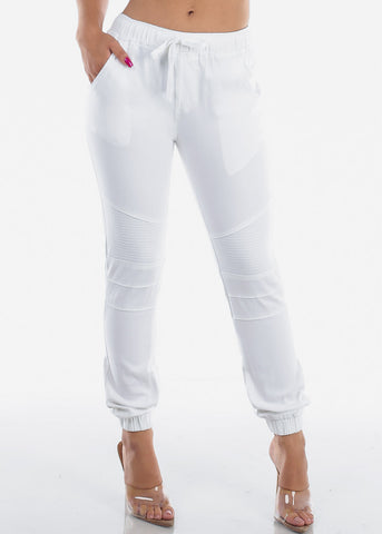 Image of White Moto Style Joggers Pants