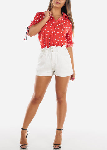 Stylish Super High Waisted Solid White Denim Shorts For Women Ladies Junior 2019 New Modaxpress