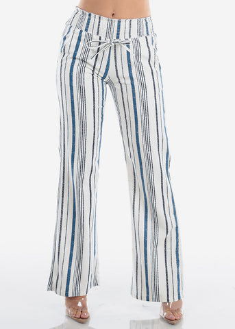 Cute Lightweight Linen Blue And White Stripe High Waisted Boho Style Wide Legged Pants For Women Ladies Junior