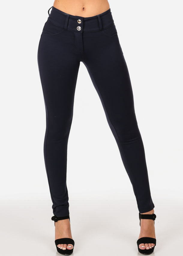 Women's Junior Casual Going Out Mid Waist Levanta Cola Colombian Style Solid Navy Skinny Leg Pants