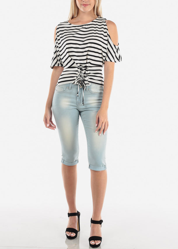 Low Rise Light Wash Denim Capris