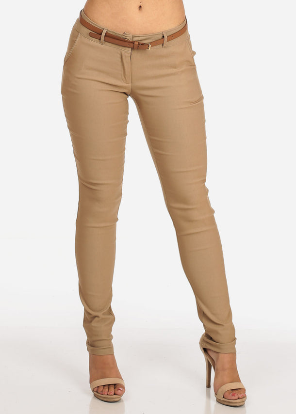 Women's Junior Ladies Dressy Stretchy Going Out Business Career Office Wear Low Rise Below The Waist Skinny Leg Khaki Dressy Dress Pants With Belt