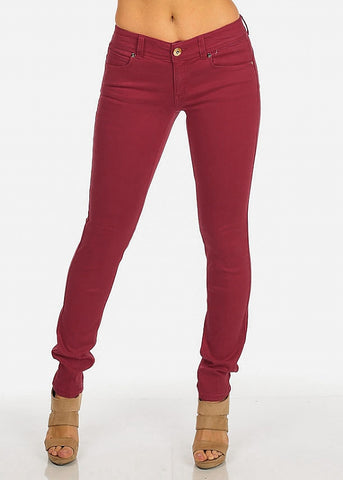 Red Mid Rise Skinny Pants