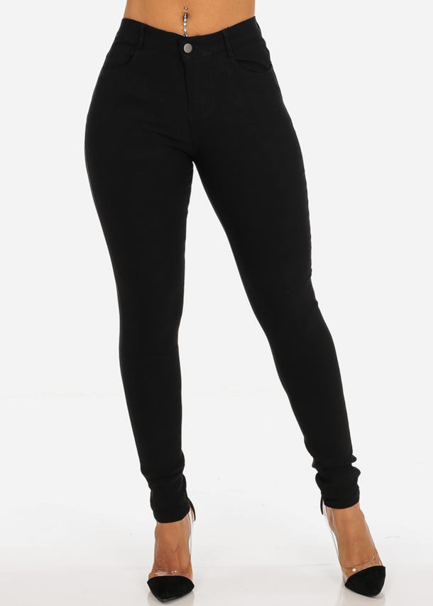 Classic One Button Stretchy Going Out Night Out Sexy Basic Black Skinny Pants