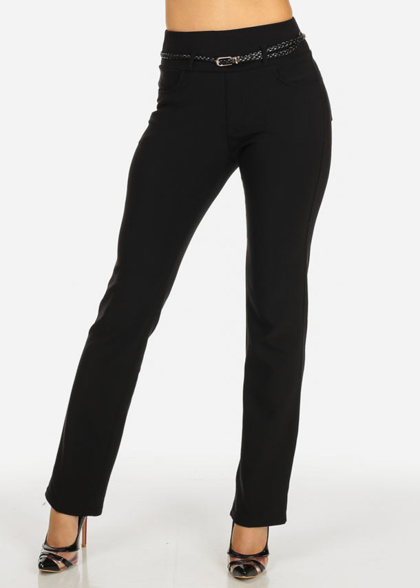 Black Straight Leg Pants w/ Belt