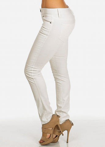 White Faux Leather Front Pants