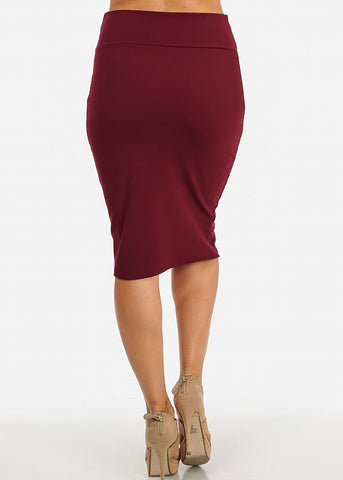 Image of Stretchy High Waist Pencil Skirt (Burgundy)