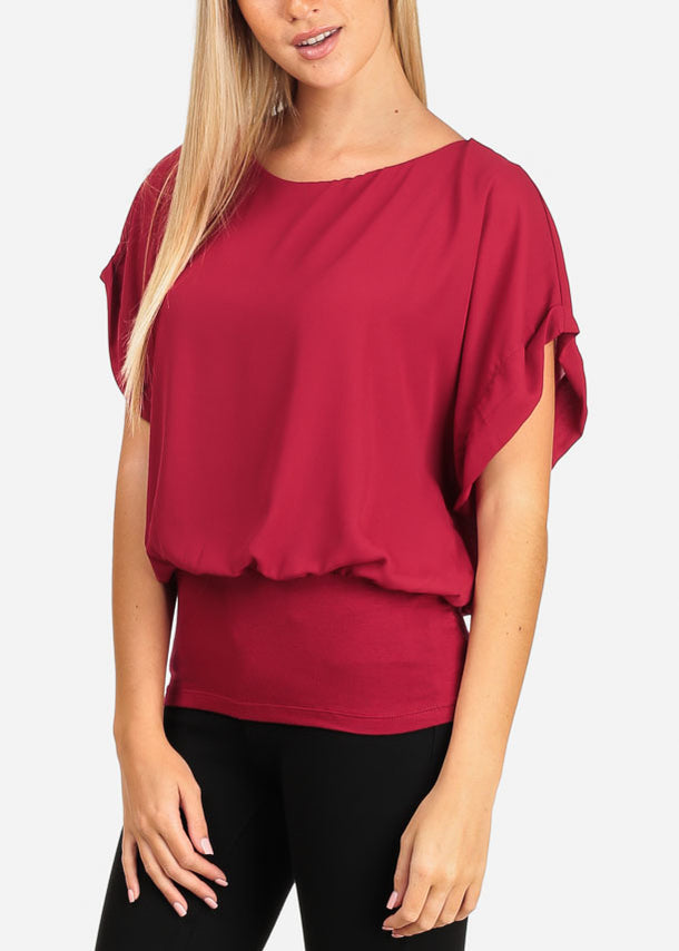 Stylish Burgundy Short Sleeve Round Neck Bubble Top W Elastic Waist