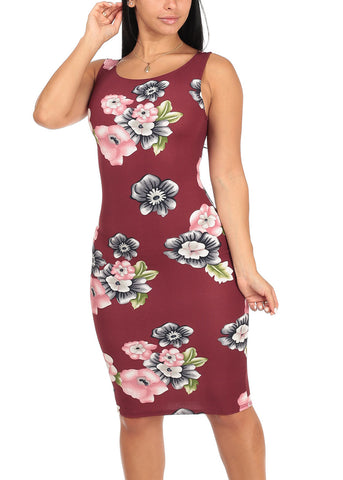 Image of Sexy Slim Fit Bodycon Sleeveless Floral Print Burgundy Midi Knee Length Stretchy Dress