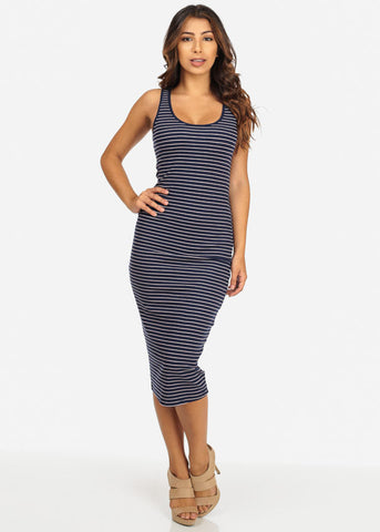 Casual Striped Tank Midi Dress