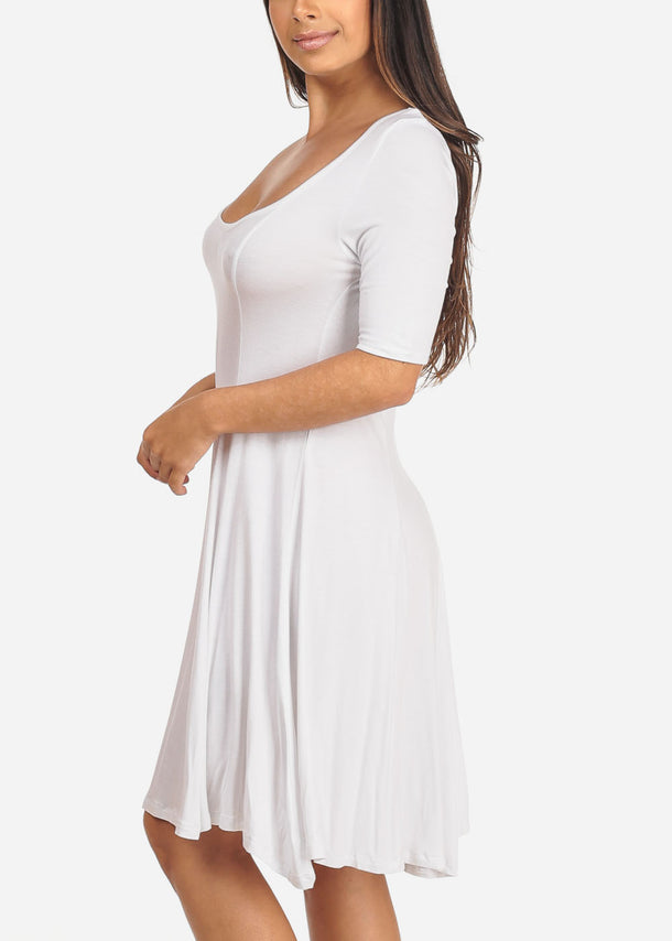 Casual Flare White Dress