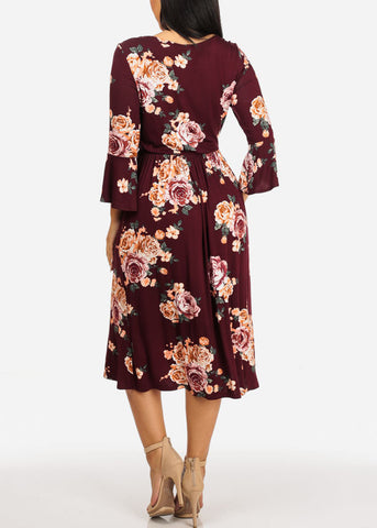 Image of Burgundy Floral Print Dress