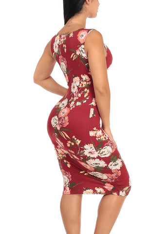 Image of Sexy Slim Fit Bodycon Sleeveless Floral Print Midi Knee Length Stretchy Burgundy Dress