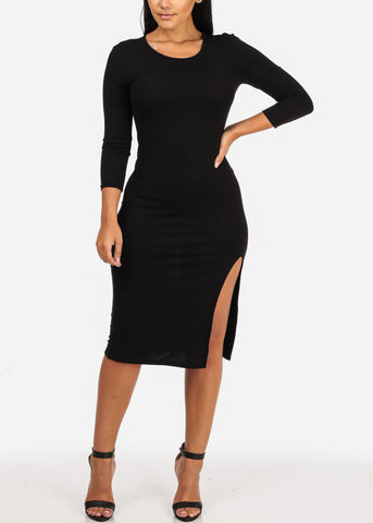 Black Side Slit Bodycon Dress