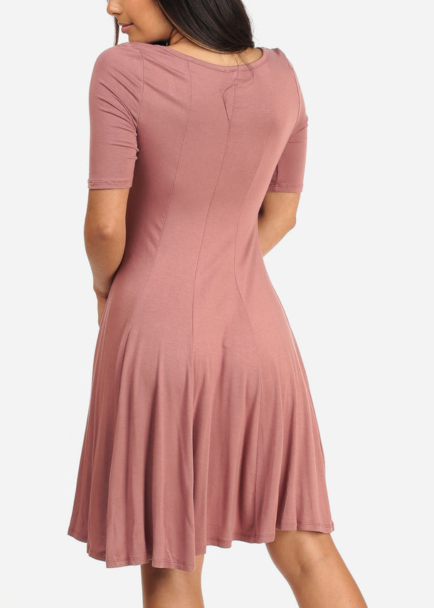 Casual Flare Mauve Dress