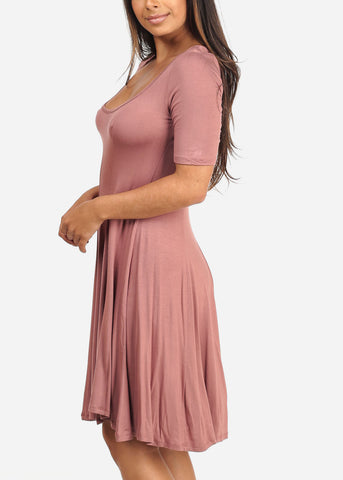 Women's Junior Ladies Casual Short Sleeve Stretchy Comfortable Round Neckline Flare Mauve Dress