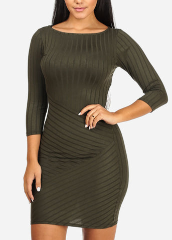 Bodycon Stripe Olive Dress