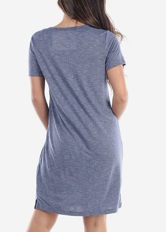 Cute Casual Short Sleeve Slip On Denim Navy Essential Shirt Dress For Women Ladies Junior On Sale Discounted Price