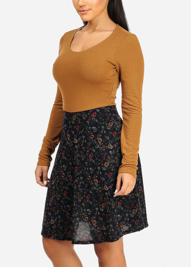 Fit And Flare Mustard Floral Dress