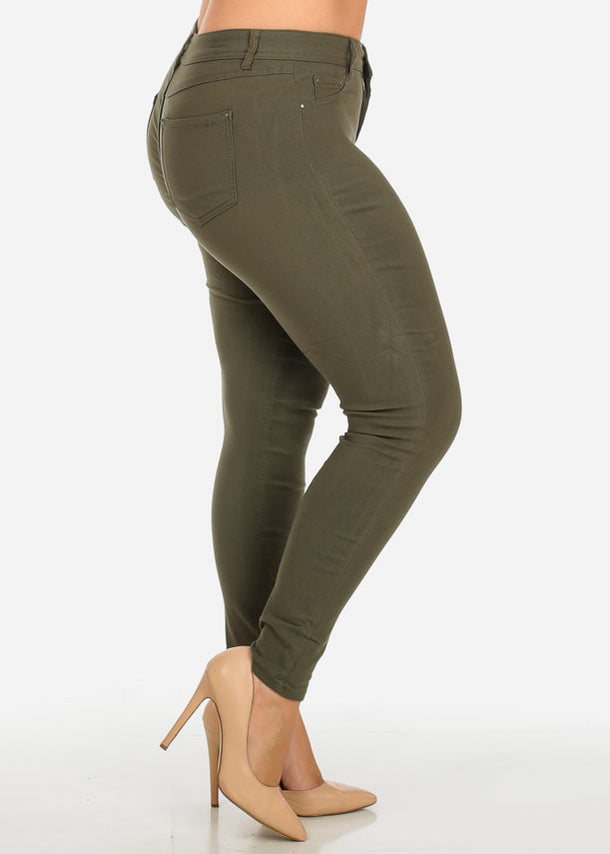 Olive One-Button Stretchy Skinny Pants